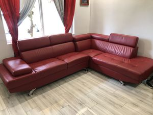 Red synthetic leather sectional set ( sofa/couch) for Sale in Margate, FL