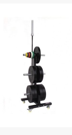 NO Weights just rack!!!!!CFF DUAL OLYMPIC BAR & BUMPER PLATE TREE - WEIGHT STORAGE RACK W/WHEELS for Sale in Des Moines, WA