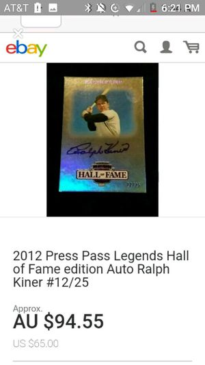 Ralph Kilner Hall of Fame baseball card for Sale in Chicago, IL