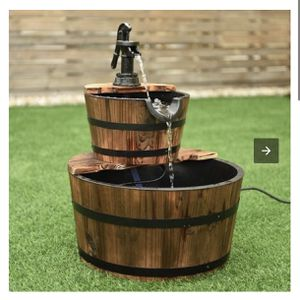 New 2 Tiers Outdoor Wooden Barrel Waterfall Fountain With Pump for Sale in La Puente, CA
