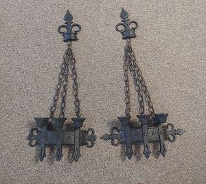 Pair Vintage 1967 Sexton Gothic Wrought Iron Sconce Candle Holders Candelabras for Sale in Burlington, NC