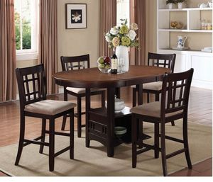 Lavon Transitional Espresso Five-piece Counter-height Dining Set for Sale in Naples, FL