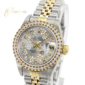 Rolex Lady Datejust Silver Flower Diamond Dial Diamond Bezel 26mm -QUICKSET for Sale in Los Angeles, CA