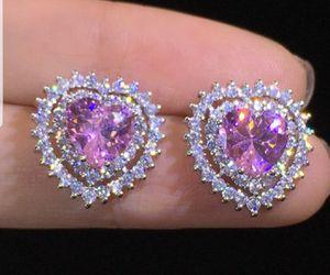 925 Sterling Silver Pink Sapphire Diamond Heart Stud Earrings for Sale in Dallas, TX