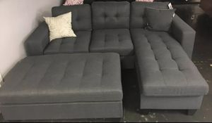 Brand New Grey Linen Sectional Sofa Couch + Oversized Ottoman for Sale in Falls Church, VA