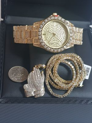 14K GOLD PLATED ICED OUT WATCH CHAINS COMBO for Sale in New York, NY