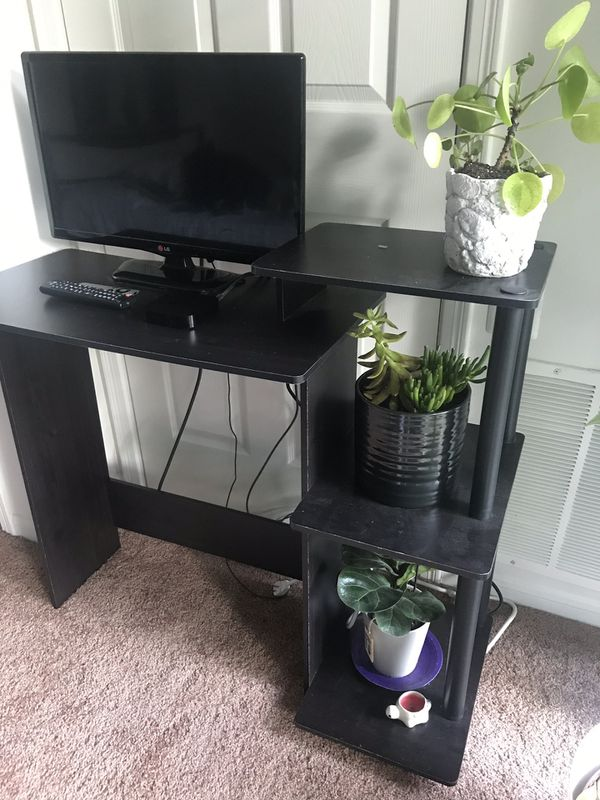 Black Desk with Shelves