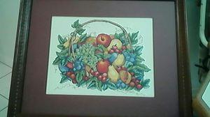 Handmade Crossstitch Fruit Basket. 16x20in. Dark Brown wood frame for Sale in Port St. Lucie, FL