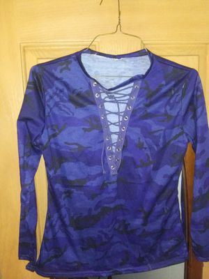 Womens medium camo blue and camo purple dress shirt long sleeve for Sale in Winchester, OH
