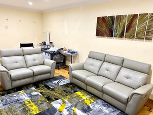 100% Authentic Leather Sand Beige Couch and Loveseat for Sale in Queens, NY