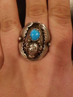 Navajo turquoise and steer head ring. for Sale in Muscatine, IA