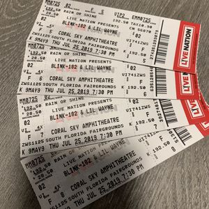 Blink-182 & Lil Wayne Concert Tickets Thursday 7/25/19 Coral Sky Amphitheater - Next to Stage for Sale in Davie, FL