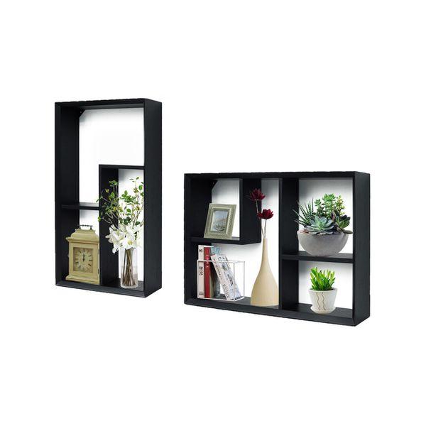 New Wood Wall Shelves and Ledges Floating Decorative Home Dec Wood Display Set of 2 PG17JJ204BK