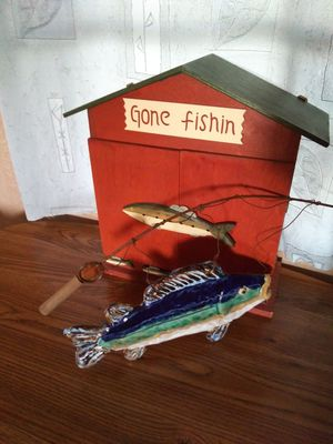Gone fishing cabinet and ceramic fish for Sale in Mesa, AZ