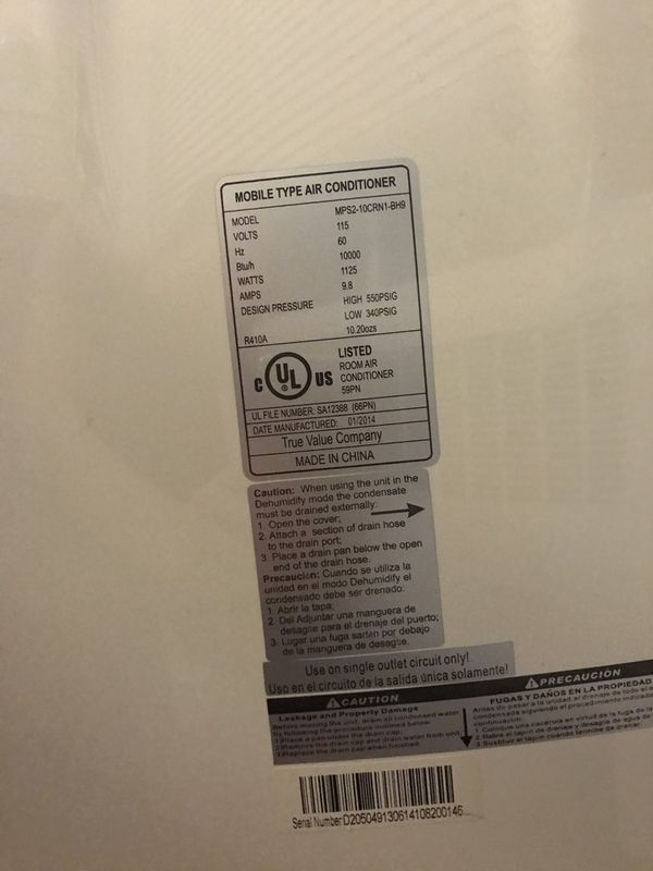 Westpointe Mobile AC Unit: 10000 btu/h, 1125 watts