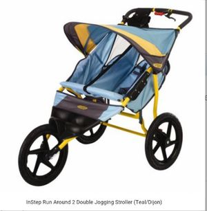 InStep Run Around 2 Double Jogging Stroller in Teal Color (as shown for Sale in Los Angeles, CA