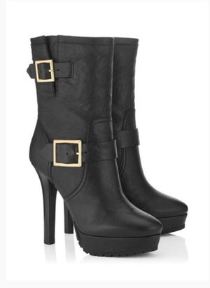 JIMMY CHOO DYLAN BLACK LEATHER BIKER BOOTS for Sale in Alexandria, VA