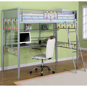 Powell bauble girls twin metal loft bed with study desk for Sale in St. Augustine, FL