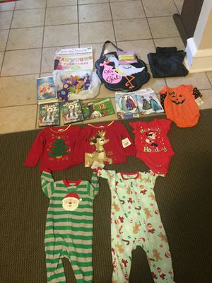 Christmas baby outfits, trolls, teletubbies, wizard of oz DVDs, frozen costume sewing patterns for Sale in Hampton, VA