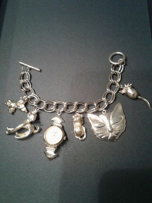Vintage Charm Bracelet--Watch, Cats & One Mouse for Sale in Sunnyvale, CA