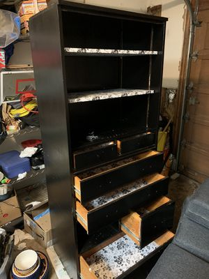 Wood dresser with shelves on top, painted black. for Sale in Canby, OR