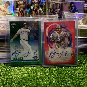 Rowdy Tellez Autographed Rookie Baseball Cards Topps Chrome Topps Inception Both Numbered To 99 In Existence Toronto Blue Jays for Sale in Emmaus, PA