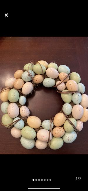 Beautiful faux egg wreath for spring deco, pastel colors, eggs look like robins eggs for Sale in Henderson, NV