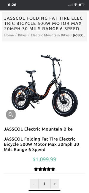 JASSCOL Folding Fat Tire Electric Bicycle 500W Motor Max 20mph 30 Mils Range 7 S for Sale in Los Angeles, CA