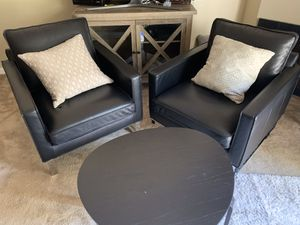 2 Beautiful Black Leather Couch Chairs with Silver Mirrored Legs for Sale in San Jose, CA