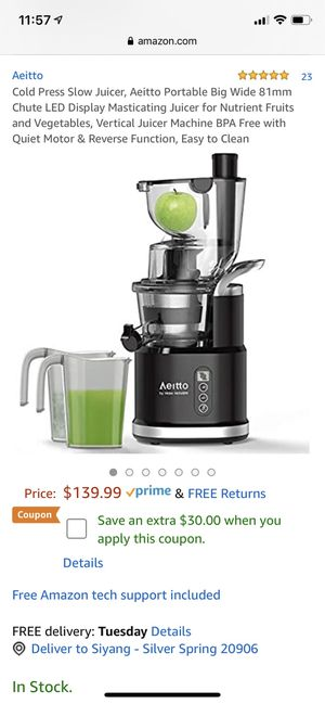 slow juicer/masticating juicer for Sale in Aspen Hill, MD