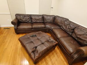 2017 Harverty's Brown Leather Full Corner Couch for Sale in Germantown, MD