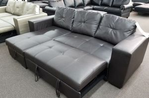 Brand New Espresso Bonded Leather Sectional Sleeper Sofa w/Storage Chaise for Sale in Silver Spring, MD
