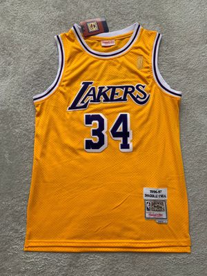 """Shaquille """"Shaq"""" O'Neal #34 - Los Angeles Lakers Team Jersey - Brand New Men's Gold Hardwood Classics NBA Basketball Jersey - Size M / L / XL for Sale in Chicago, IL"""