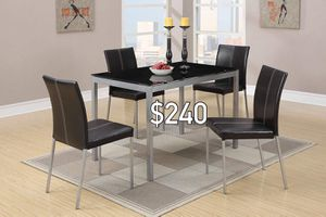 New black metal finish 5pc dining set with black leather chairs for Sale in Ontario, CA