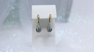Blue Topaz and Diamonds Earrings for Sale in Boulder, CO