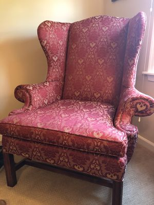 Red and gold wingback chairs for Sale in Gwynedd Valley, PA
