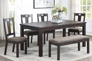 6 PIECE MODERN FARMHOUSE DINING TABLE CHAIRS BENCH / MESA COMEDOR SILLAS for Sale in Hemet, CA