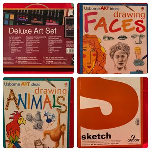 Art Supplies - Never Used Deluxe 80 Piece Art Set, Drawing Faces, Drawing Animals and Sketch Paper Pad Bundle for Sale in Chandler, AZ