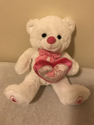 NEW teddy bear stuffed animal plush white pink heart for Sale in Seattle, WA