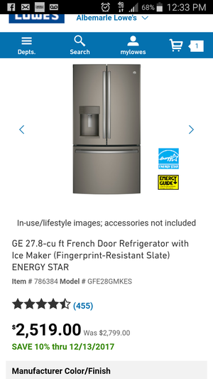 Brand new GE refrigerator with warranty for Sale in NC, US
