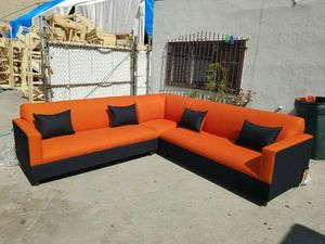 NEW 9X9FT CASSANDRA ORANGE FABRIC COMBO SECTIONAL COUCHES for Sale in Las Vegas, NV