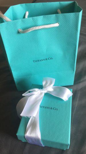 Tiffany mini double heart tag pendant in silver with enamel finish. for Sale in Turlock, CA