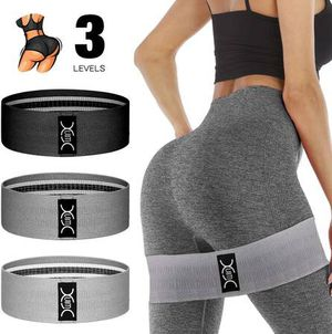 Exercise Resistance Bands Hip Booty Bands Stretch Workout Bands- Cotton Resistance Band for Legs and Butt Body, Yoga Pilates Muscle Gym Training (3 P for Sale in Pomona, CA