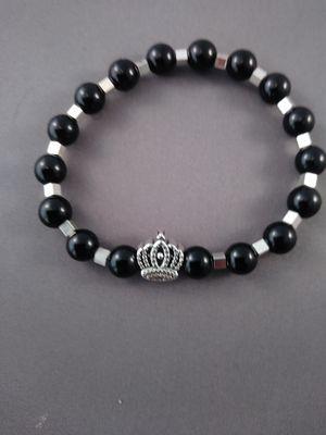 KING charm Black onyx beaded bracelet for Sale in Nashua, NH
