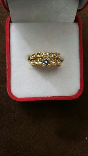 Ladies fashion jewelry Anniversary white Engagement white 18 k golden filled set ring size 6 for Sale in Moreno Valley, CA