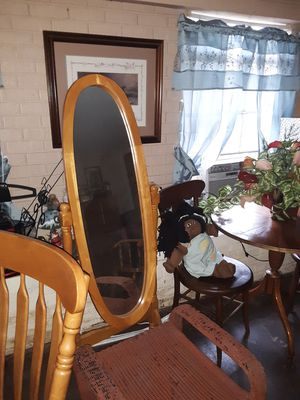 Solid oak mirror excellent condition for Sale in Laurel, MS