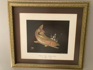 Framed Alderson Magee professor's prize rainbow trout fishing painting for Sale in Fullerton, CA