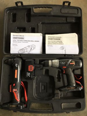 Craftsman 19.2 volt drill- driver and 19.2 volt right angle drill- driver for Sale in Norco, CA