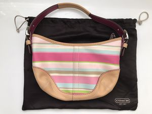 COACH PINK BLUE STRIPE FABRIC PURSE NATURAL LEATHER ACCENTS SMALL SOHO HOBO BAG. for Sale in Henderson, NV