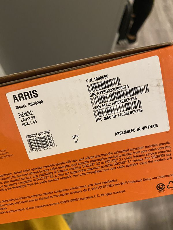 ARRIS Surfbord 3.1 Router WI-FI And Cable Modem Never Used